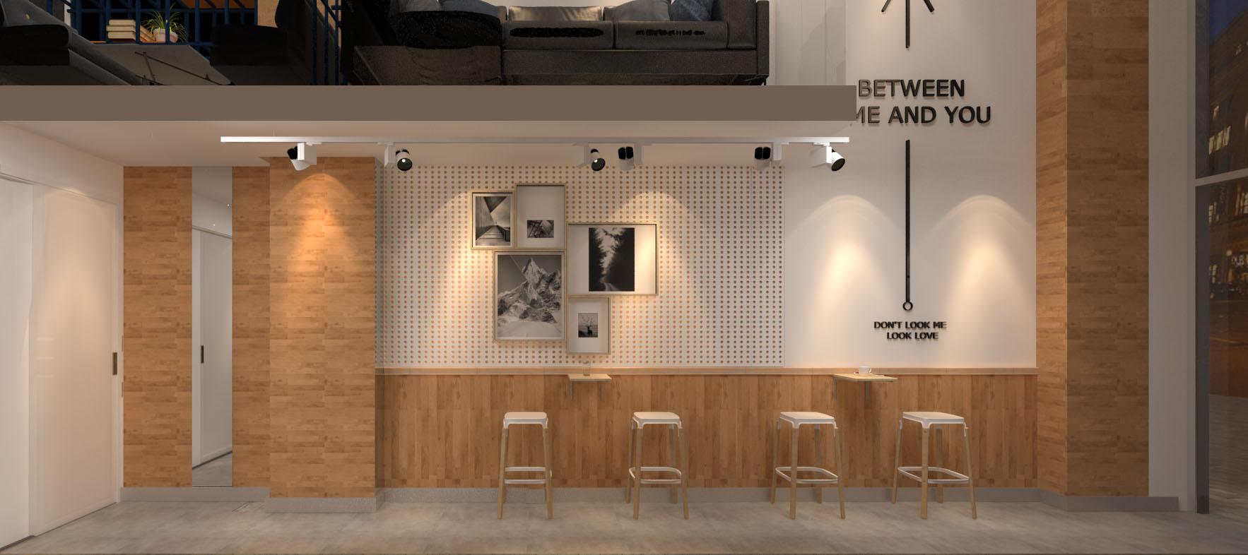 咖啡店左墙设计效果图