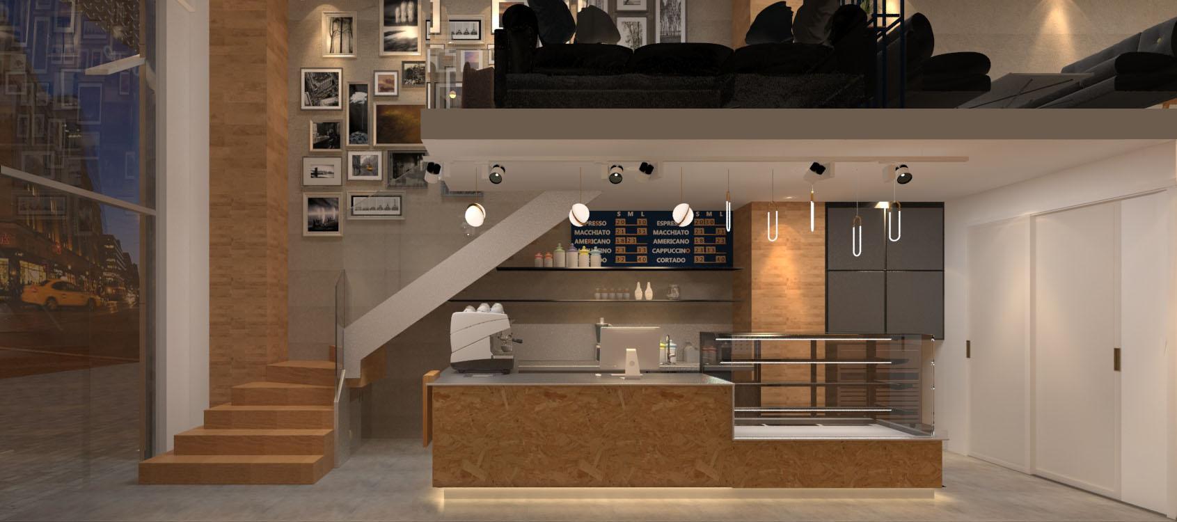 咖啡店右墙设计效果图
